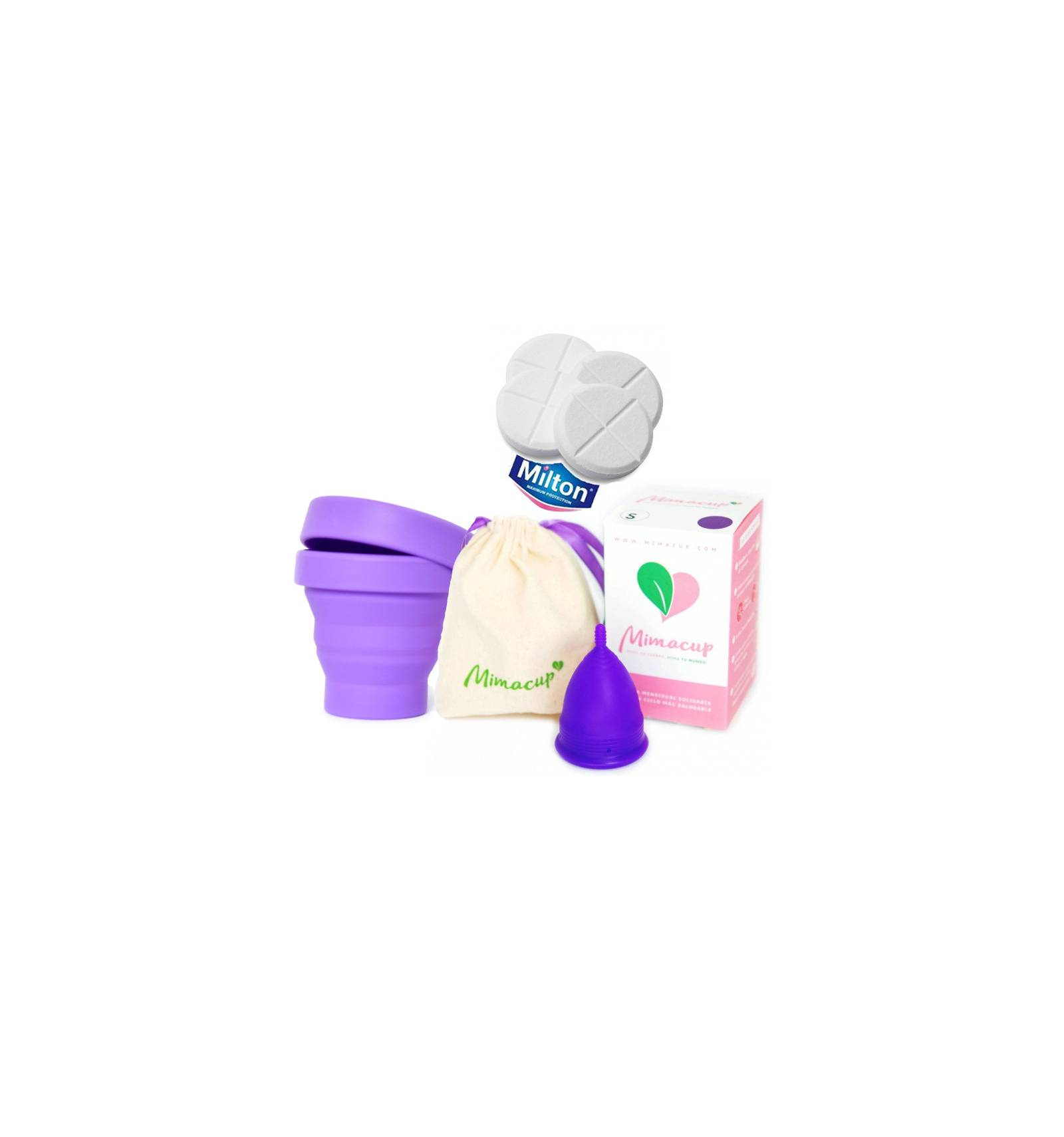 Pack Mimacup con esterilizador Mimaclean y pastillas Milton