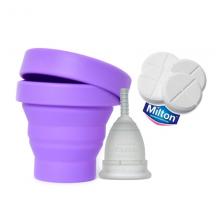 Copa Menstrual Mooncup + Esterilizador plegable + Pastillas Milton